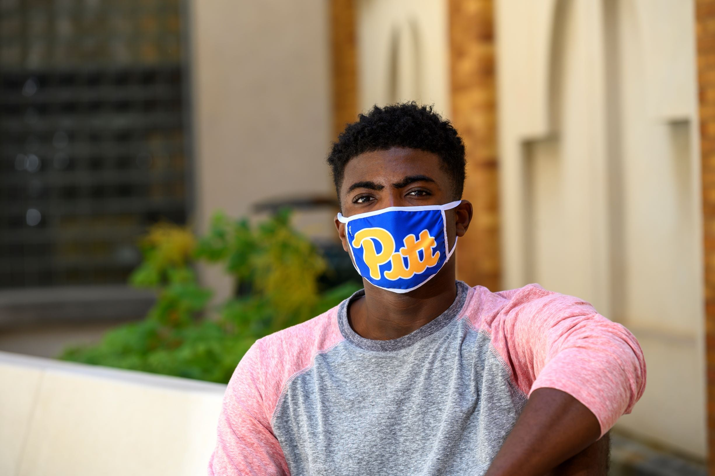 Pitt student with mask