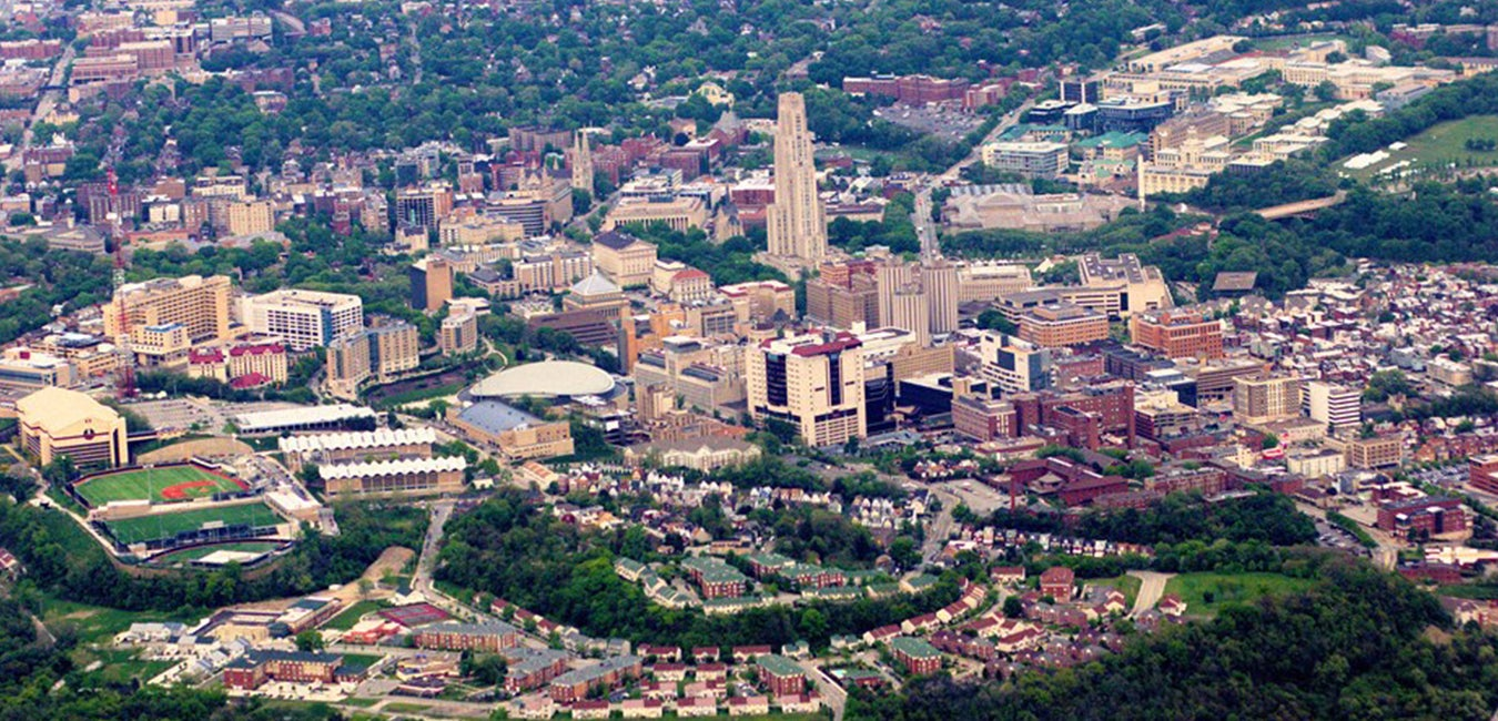 Aerial view of Pitt campus