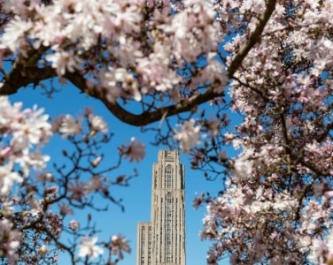 Cathedral of Learning with spring flowers